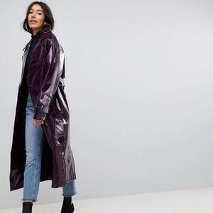 ASOS oversized trench coat in vinyl burgundy